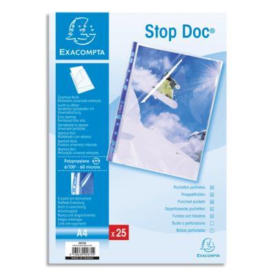 Pochettes perforées Exacompta - A4 - PP transparent lisse 6/100 - ouverture en coin 2/3 hauteur - sachet de 25