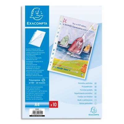 Pochettes perforées Exacompta - A4 - PP transparent lisse 6/100 - ouverture en coin toute hauteur - sachet de10