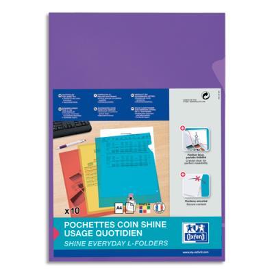 Pochettes coin Elba - PP lisse 12/100e - violet - sachet de 10