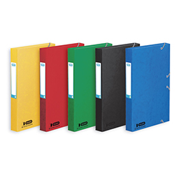 Boîte classement non montée Elba Boston - 7/10e - dos 4cm - coloris assortis bleu,vert,noir,rouge,jaune (photo)