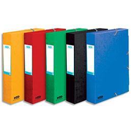 Boîte classement non montée Elba Boston - 7/10e - dos 6cm - coloris assortis bleu,vert,noir,rouge,jaune (photo)