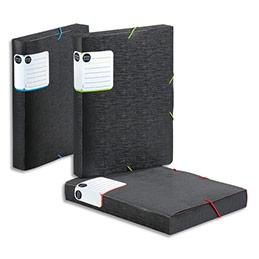 Boîte classement Viquel Office Design - PP 7/10e - dos 4 cm - coloris assortis bleu, vert, corail (photo)