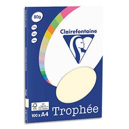 Papier couleur Clairefontaine Trophée - 80 g - format A4 - coloris ivoire - pochette de 100 feuilles