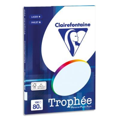 Papier couleur Clairefontaine Trophée - 80 g - format A4 - coloris bleu - pochette de 100 feuilles