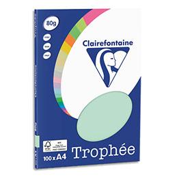 Papier couleur Clairefontaine Trophée - 80 g - format A4 - coloris vert - pochette de 100 feuilles