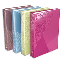 Classeur 4 anneaux Elba Tangram - A4+ - carte pelliculée - dos 4 cm - coloris assortis rose,marron,bleu,vert (photo)