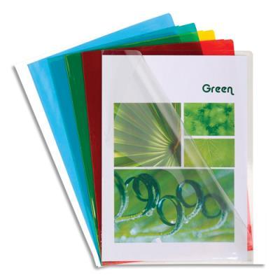 Pochettes coin Exacompta - en PVC 13/100 ème - coloris assortis bleu,incolore,jaune,rouge,vert - sachet de 10