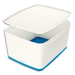 Boîte Leitz Mybox medium - avec couvercle en ABS - blanc fond bleu (photo)