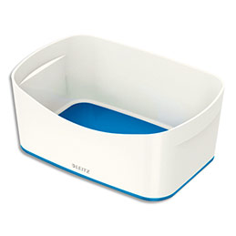 Bac de rangement Leitz Mybox - format small - sans couvercle en ABS - blanc fond bleu (photo)