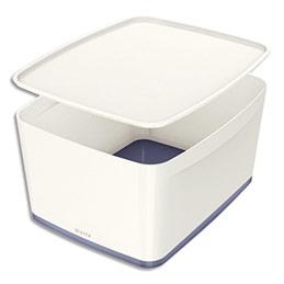 Boîte Leitz Mybox - format medium - avec couvercle en ABS - blanc fond gris (photo)