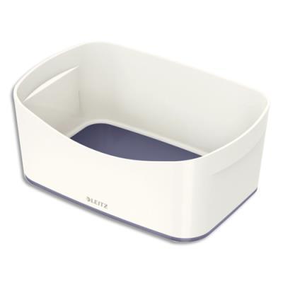 Bac de rangement Leitz Mybox - sans couvercle en ABS - blanc fond gris (photo)