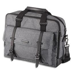 Sacoche Juscha Twyx - polyester - format 15 pouces - 31 x 40 x 12 cm - corps gris, accessoires noirs