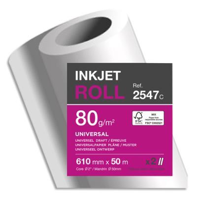 Bobine papier blanc Clairefontaine Universel pour traceur - CIE170 - 80g - 0,610mmx50m (photo)