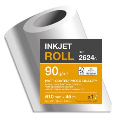 Bobine papier blanc Clairefontaine pour traceur - CIE153 - qualité photo - couché mat - 90g - 0,610mmx45m (photo)