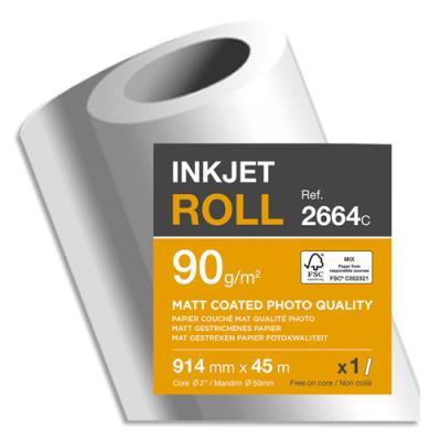 Bobine papier blanc Clairefontaine pour traceur - CIE153 - qualité photo - couché mat - 90g - 0,914mmx45m (photo)