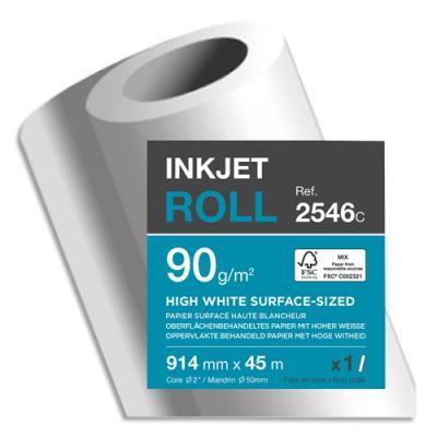 Bobine papier blanc Clairefontaine pour traceur - CIE164 - surfacé - 90g - 0,914mmx45m (photo)
