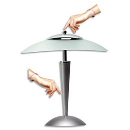 Lampe à Leds Elba Cristal tactile argenté - vasque verre dépoli - 42 x 21 cm