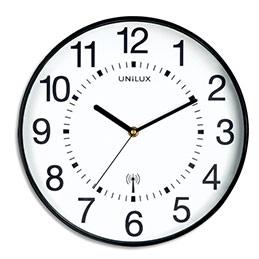 Horloge Unilux Wave radio-piloté - à pile AA non fournie - D30,5 cm - noire (photo)