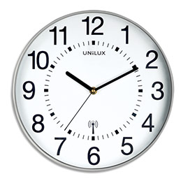 Horloge Unilux Wave radio-piloté - à pile AA non fournie - D30,5 cm - gris métalisé (photo)