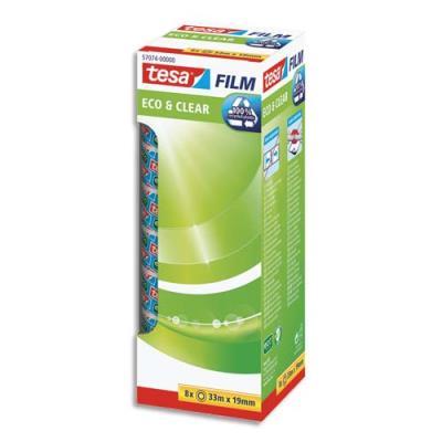Rubans adhésifs Tesa Eco and Clear transparents - en plastique recyclé - L33 x l19 mm - tour de 8