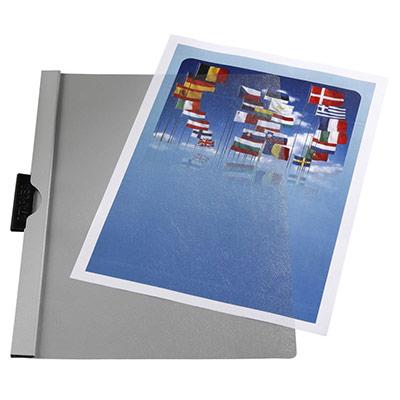 Chemise à pince - A4 - 30 feuilles - couverture transparente - PVC - gris (photo)