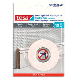 Ruban double-face de fixation blanc Tesa - papier peint & plâtre - charge 10kg/m -  L1,5m x l19mm (photo)