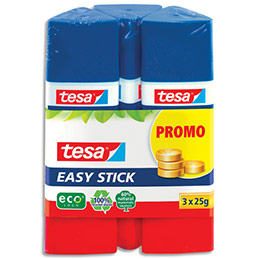 Bâtons de colle recyclé Tesa Easy Stick - forme triangulaire - 25 g - lot de 3 (photo)