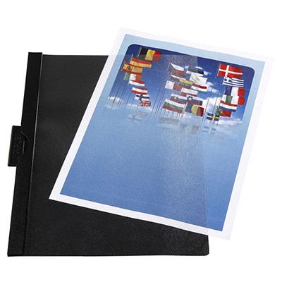 Chemise A4 transparente en PVC - 30 feuilles - clip latéral - noire (photo)