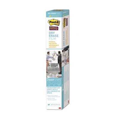 Tableau blanc rouleau Post-It SuperSticky - 60,9x91,4 cm + 1 Pte-marqueur + 4 languettes Command offert