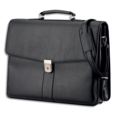 mallette Alassio Pescara - imitation cuir - plusieurs compartiments - 31 x 41 x 12,5 cm - noir (photo)