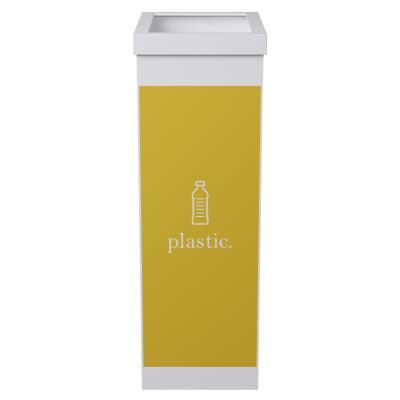 Corbeille de tri sélectif pour le recyclage du plastiquePaperflow - 60 litres - corps blanc - jaune