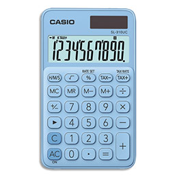 Calculatrice de poche Casio - 10 chiffres - bleue Claire (photo)