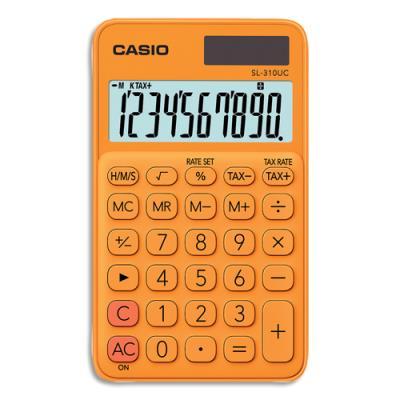 Calculatrice de poche Casio - 10 chiffres - orange (photo)