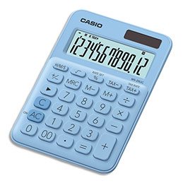 Calculatrice de bureau Casio - 12 chiffres - bleue claire (photo)