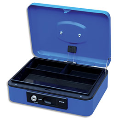 Caisse à monnaie Pavo 30cm/3 compartiments - ouverture auto bouton poussoir + serrure cylindrique - bleue (photo)