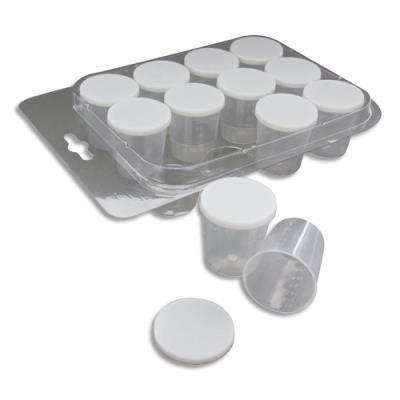 Lot de 12 pots gradués - contenance 30ml - avec couvercle + 1 pipette
