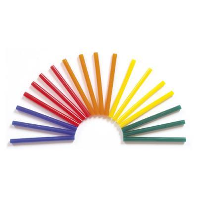 Bâtons de colle pour pistolet - diamètre 7 mm, longueur 10 cm - couleurs assorties - sachet de 25 (photo)