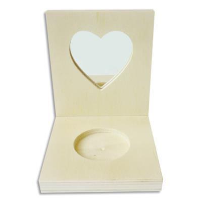 Porte-bougie carré en bois avec miroir cœur - 80x100x87mm - à décorer