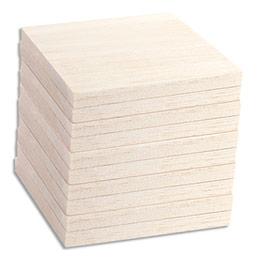 Lot de 10 planches balsa - 100x100x10mm - à décorer ou pour tableau en fil (photo)