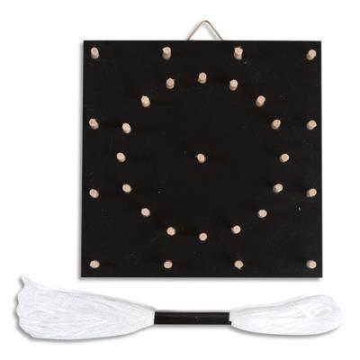 Tableau en bois noir - motif rosace - pour faire un tableau en fil - 110x110x20mm (photo)