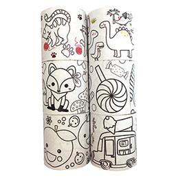 Lot de 6 rouleaux papier adhésifs - 46mmx5m - motifs assortis à colorier (photo)