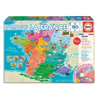 Puzzle 150 départements et régions de france 150 pièces 40 x 28 cm