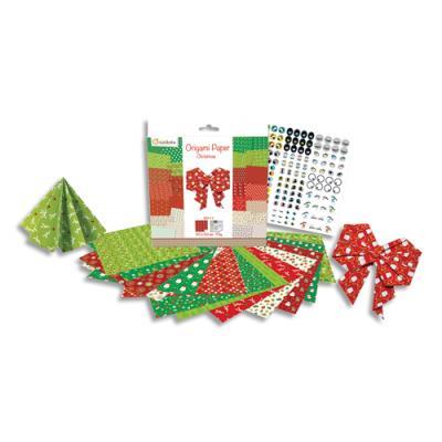 Origami Paper - Noël - imprimé 2 faces avec 1 planche de stickers yeux - 60 feuilles - 20x20 cm