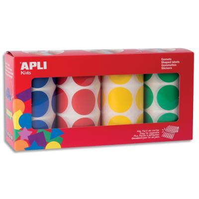Gommettes rondes Agipa - diamètre 33mm - bleu, rouge, jaune, vert - lot de 4 rouleaux (photo)