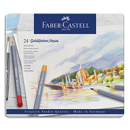Crayons de couleur Faber Castel Goldfaber aquarellables - coloris assortis - étui de 24 (photo)
