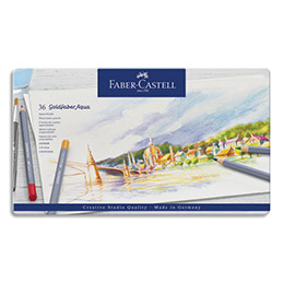 Crayons de couleur Faber Castel Goldfaber aquarellables - coloris assortis - étui de 36 (photo)