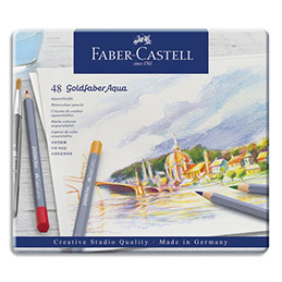 Crayons de couleur Faber Castel Goldfaber aquarellables - coloris assortis - étui de 48 (photo)