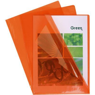 Boîte de 100 pochettes coin Claircell - en PVC 14/100 ème - coloris orange