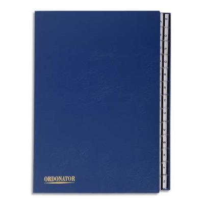 Trieur alphabétique 26 compartiments bleu couverture rigide plastifiée onglets en plastique (photo)