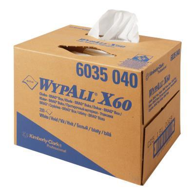 Chiffon non tissé Wypall X60 blancs - 200 formats enchevetrés 31 x 42 cm (photo)